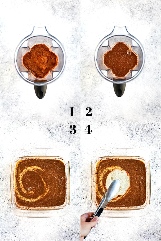 How to make Vanilla French Toast, steps 1-4.