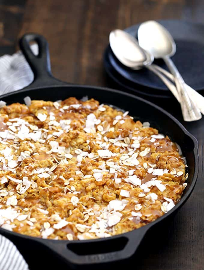 Coconut Caramel Pumpkin Oatmeal Skillet Cookie