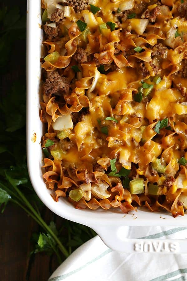 This eight ingredient Hamburger Hotdish is a classic family recipe that will never go out of style. Ground beef, egg noodles and creamed corn combine in this bubbly, cheesy comforting casserole.