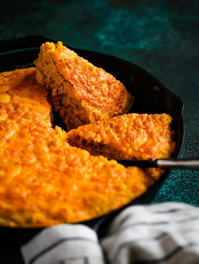 Pumpkin Cream Cheese Skillet Cornbread