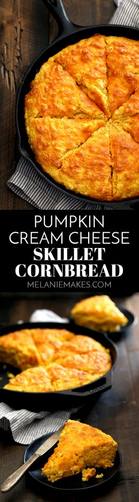 This thick Pumpkin Cream Cheese Skillet Cornbread is the perfect side dish for any fall meal.  Pumpkin, cheddar cheese and cream cheese are spiked with cinnamon and are the standout ingredients of this easy, savory bread.