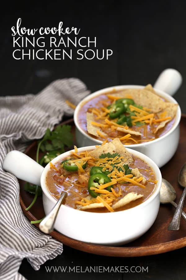 My Slow Cooker King Ranch Chicken Soup is a classic, comforting casserole in soup form.  A cheesy, tomato soup base is spiked with chili powder, garlic and cumin and studded with diced chicken and tomatoes and then showered with your choice of delicious toppings.