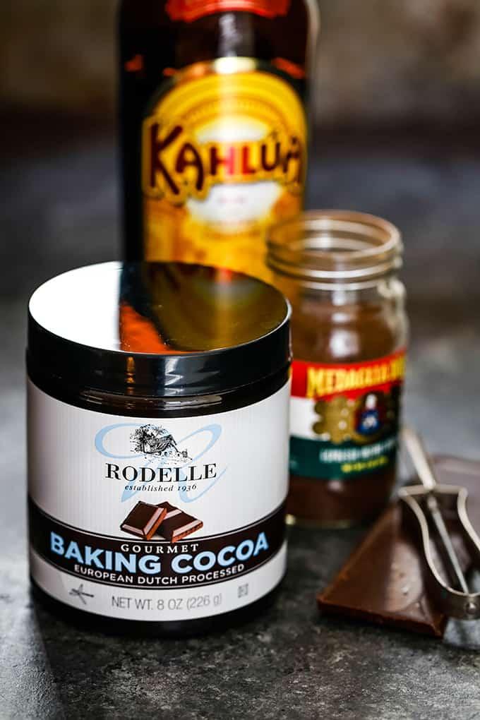 The ingredients needed to prepare Chocolate Espresso Eggnog Bars.