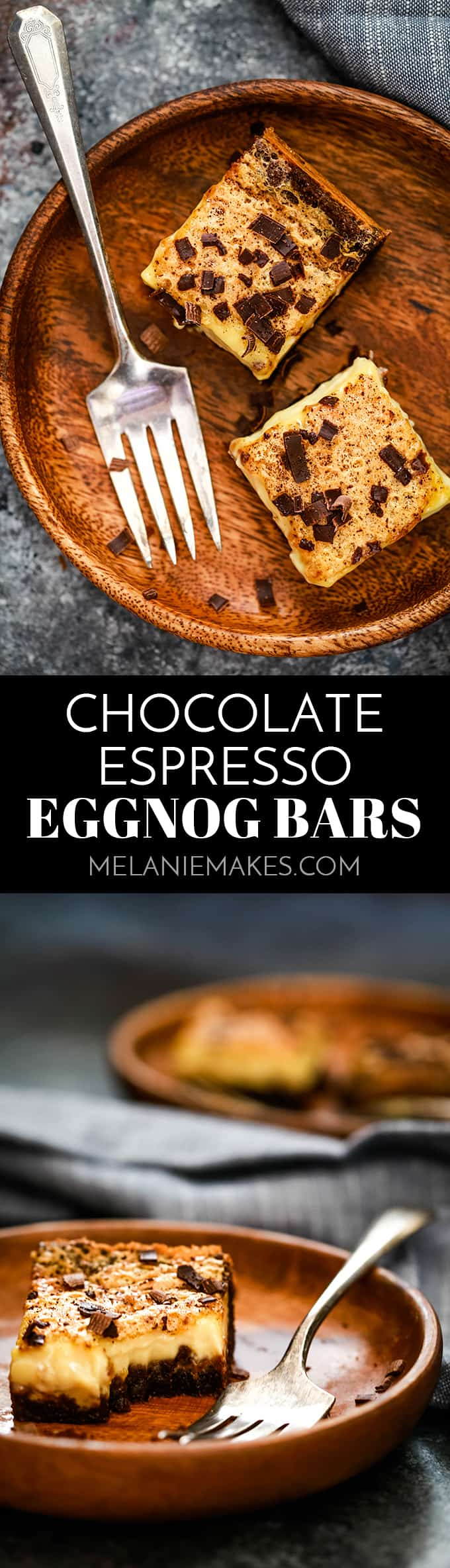 These Chocolate Espresso Eggnog Bars are perfect for any holiday get together! A chocolate espresso crust is the base for a eggnog filling spiked with Kahlua and nutmeg for a twist on traditional eggnog. After a shower of espresso powder and chocolate shavings on top, these decadent treats are ready to devour.