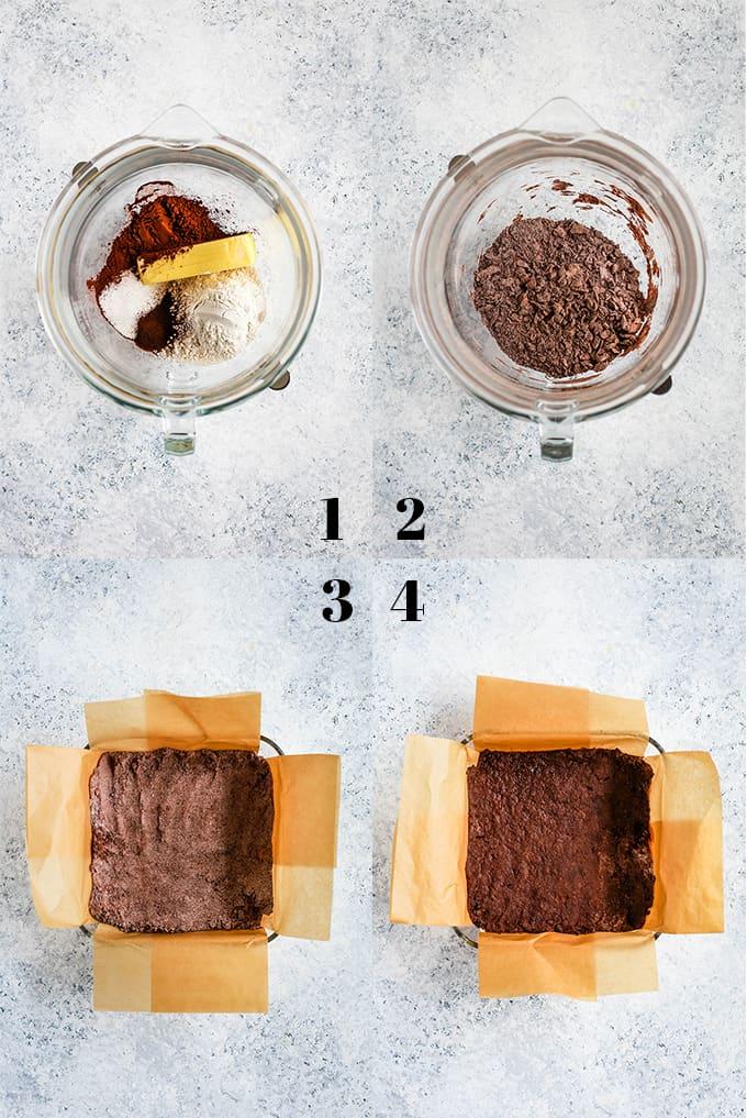 Step by step photos of how to create Chocolate Espresso Eggnog Bars steps 1-4.