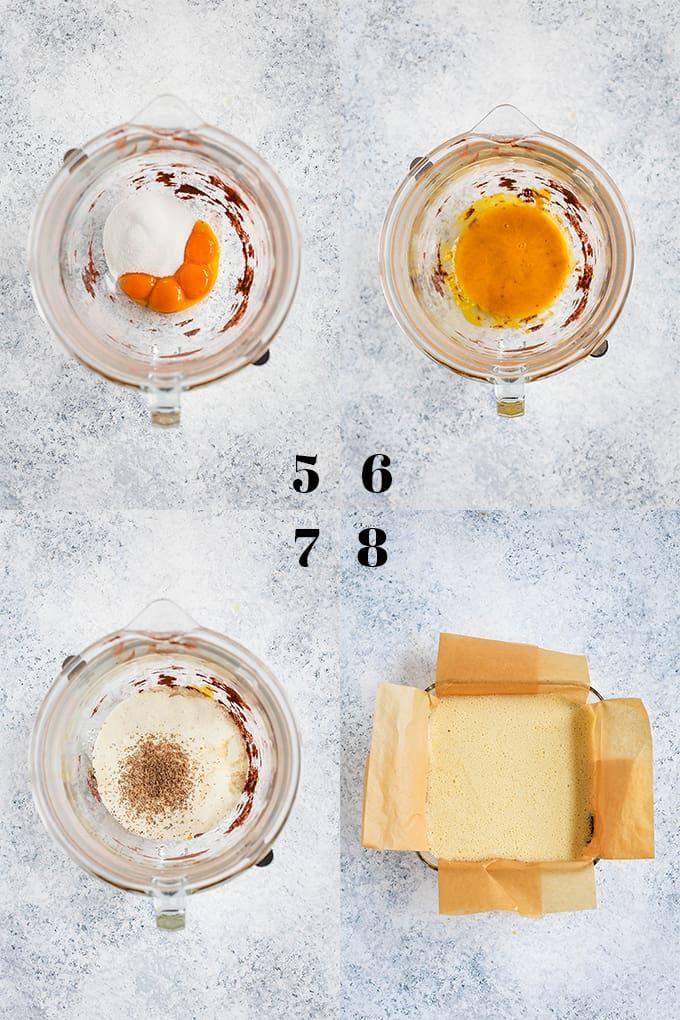 Step by step photos of how to create Chocolate Espresso Eggnog Bars, steps 5-8.