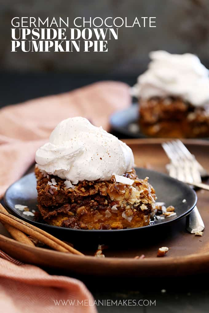 This German Chocolate Upside Down Pumpkin Pie contains all the usual spiced suspects before being showered with a German chocolate cake mix, flooded with melted butter and then sprinkled with coconut flakes and pecans.  In other words, the perfect autumn dessert.