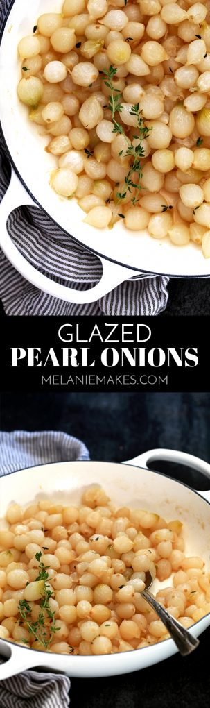 Hands down the easiest holiday side dish you'll ever come across. These Glazed Pearl Onions are shellacked with brown sugar and bedazzled with fresh thyme. Sure, they may be simple to prepare, but the taste is anything but simple. Prepare for them to disappear quickly!