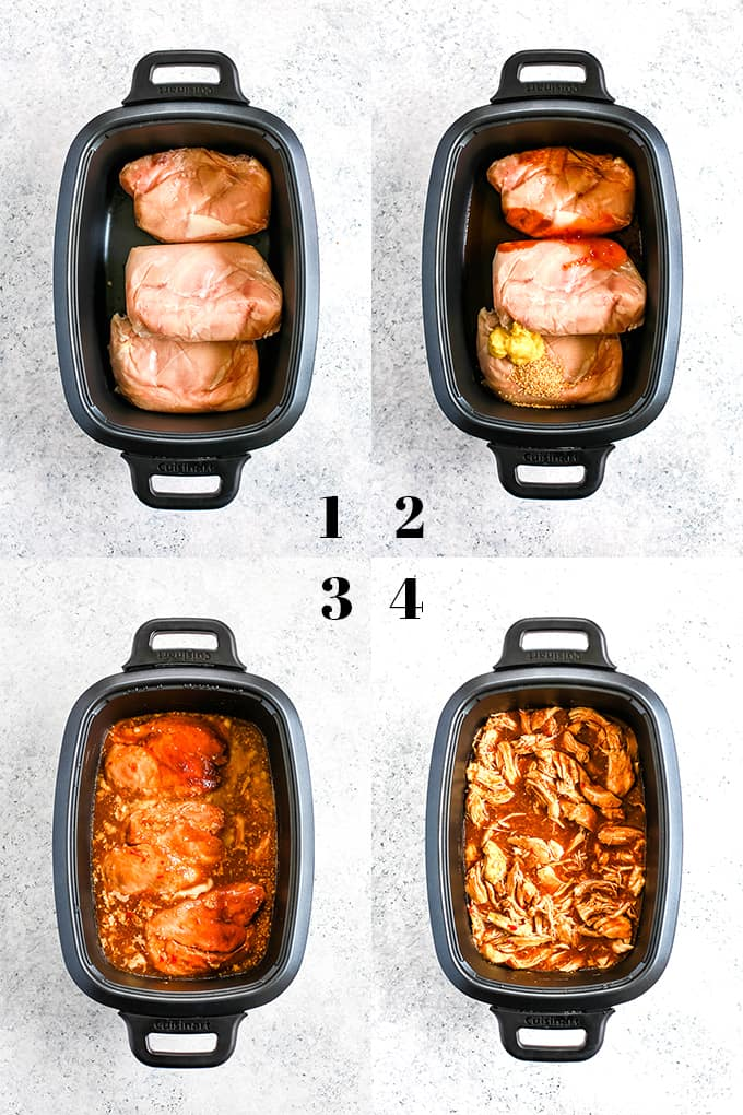 How to prepare Slow Cooker Hoisin Chili Chicken Tacos, steps 1-4.