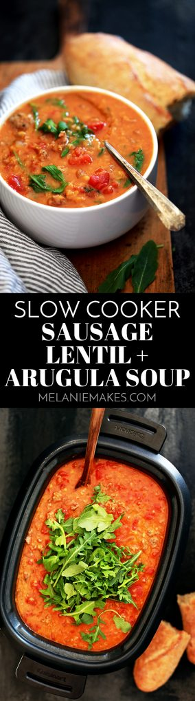 This Slow Cooker Sausage Lentil and Arugula Soup is easy.  BEYOND easy.  As in, if you can brown sausage and then literally toss every other ingredient in your slow cooker, you can consider dinner done.  D-O-N-E. #slowcooker #crockpot #soup #souprecipes #sausage #lentils #lentilsoup