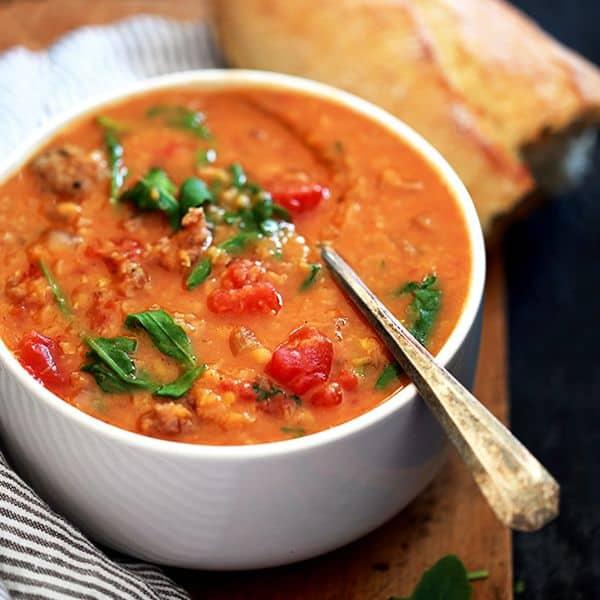 Slow Cooker Sausage Lentil and Arugula Soup   Melanie Makes