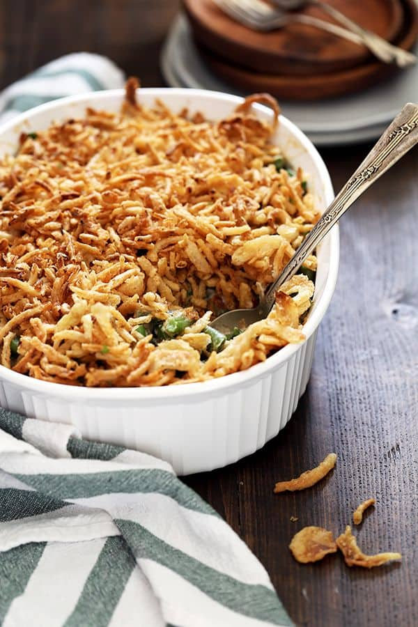 Your favorite Thanksgiving side dish gets a delicious makeover! This Twice the Onion Green Bean Casserole is your traditional, comforting side dish but with double the amount of French fried onions. Double the onions, doubly delicious!