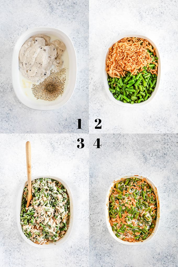Step by step photos of how to create Twice the Onion Green Bean Casserole on a white speckled surface.