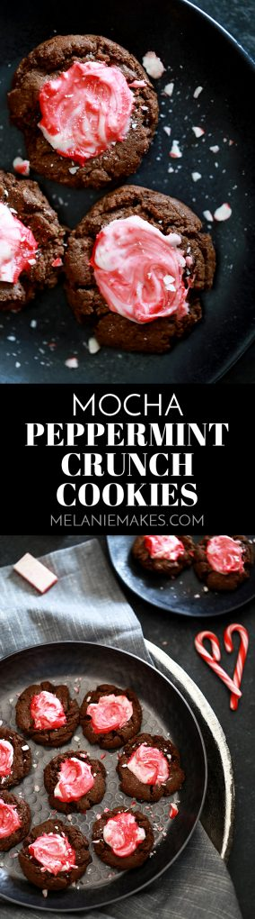 Look no further for the perfect cookie for any winter holiday celebration than these Mocha Peppermint Crunch Cookies! A soft and chewy espresso infused chocolate cookie is topped with a puddle of peppermint crunch candy before being showered with crushed candy cane. #mocha #peppermint #cookies #christmascookies #chocolatecookies