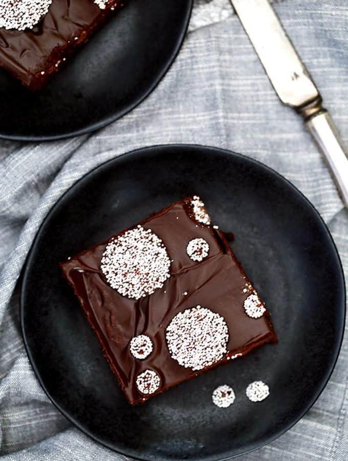 Sno-Cap Chocolate Ganache Brownies | Melanie Makes