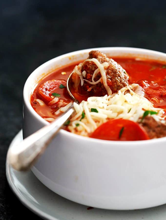 Meatball Pizza Soup