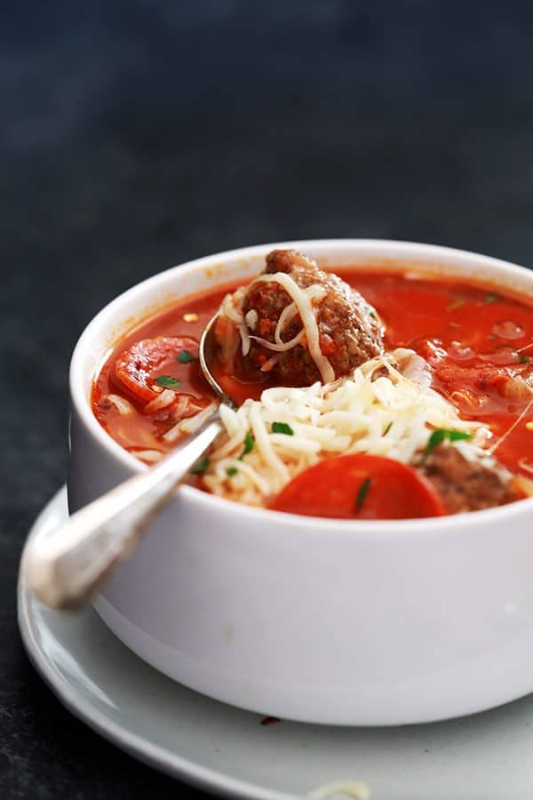 Meatball Pizza Soup   Melanie Makes