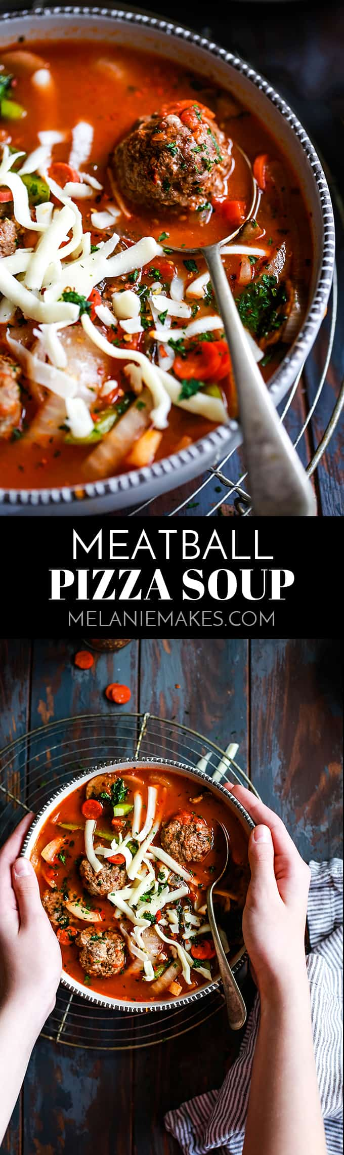 Thanks to a shortcut, this Meatball Pizza Soup takes just 10 minutes to prepare.  Meatballs join your favorite pizza toppings in this comforting soup. #meatballs #meatballsoup #pizza #soup #easyrecipe #cheese
