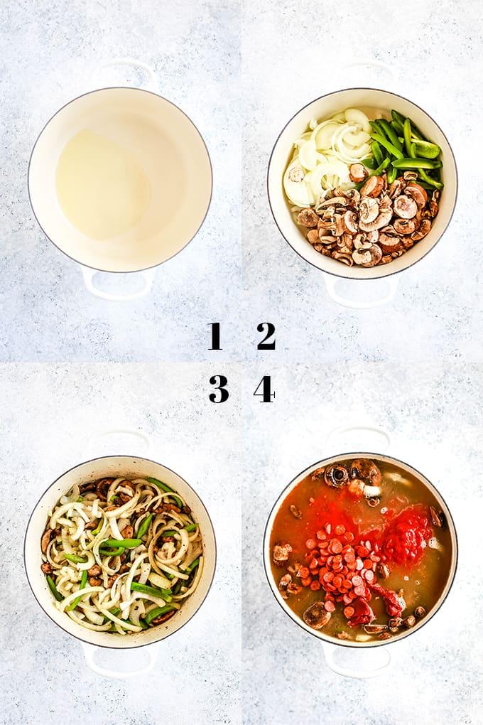 How to make Meatball Pizza Soup, steps 1-4.