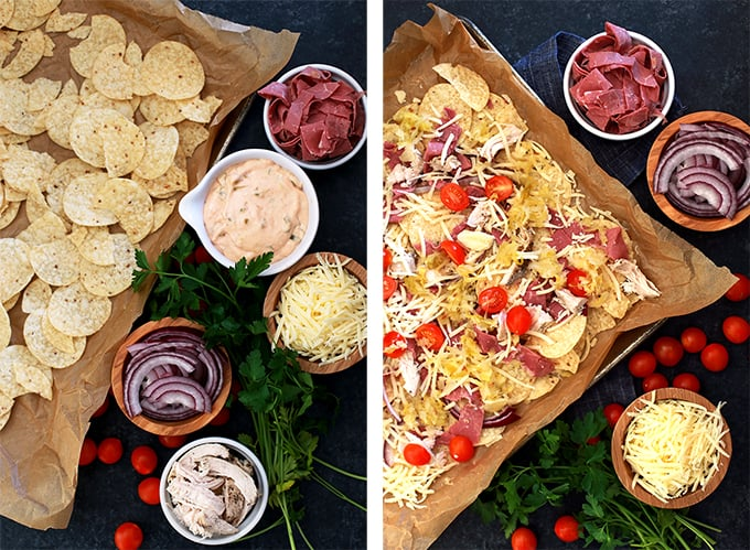 These Chicken Reuben Sheet Pan Nachos are the perfect way to celebrate St. Patrick's Day or any other day when easy comfort food is required. Layers of tortilla chips, chicken, corned beef, sauerkraut, red onions, cherry tomatoes and melty Swiss cheese are drizzled with a homemade thousand island dressing.