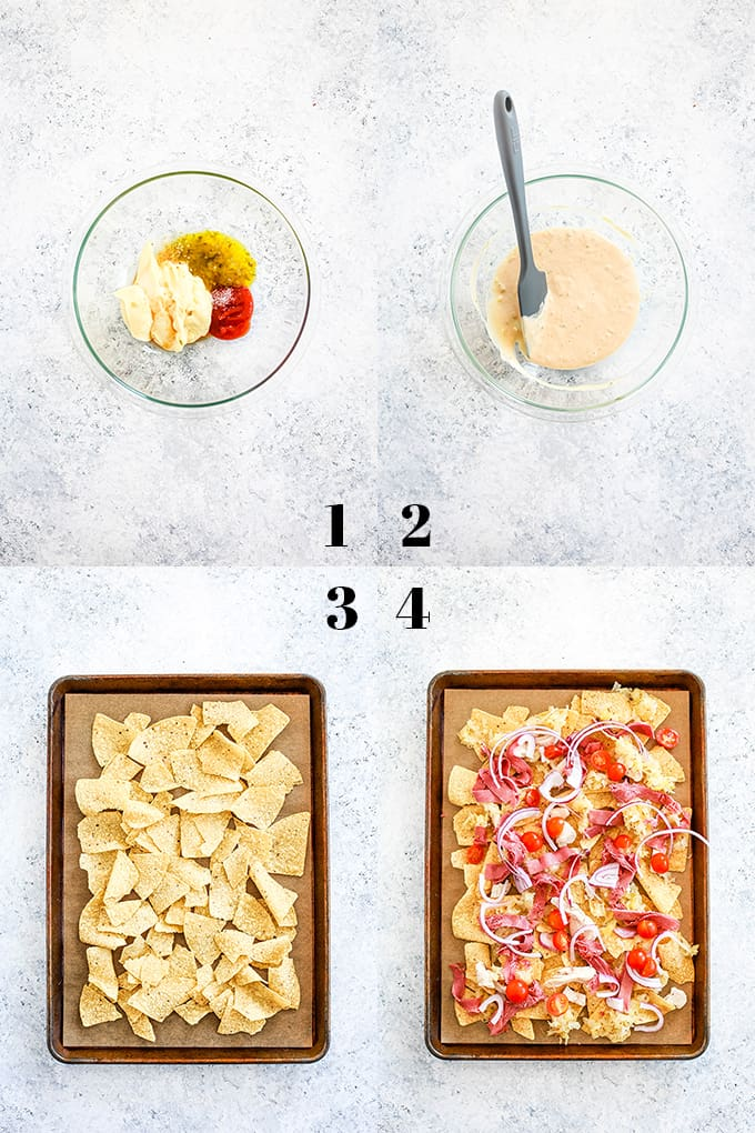 How to create Chicken Reuben Sheet Pan Nachos, steps 1-4.