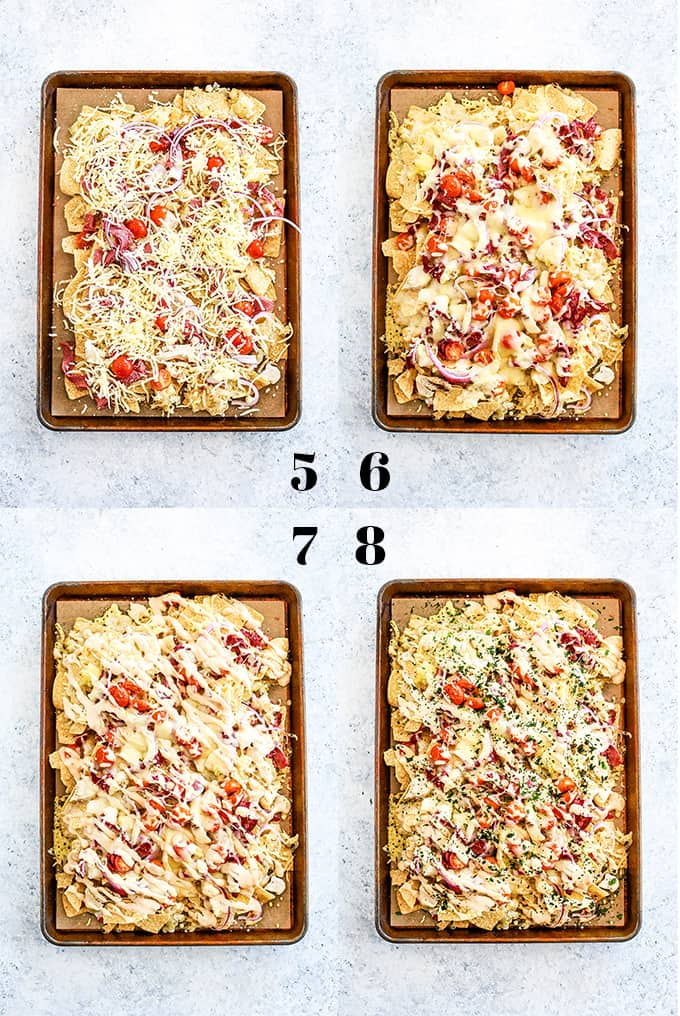 How to prepare Chicken Reuben Sheet Pan Nachos, steps 5-8.