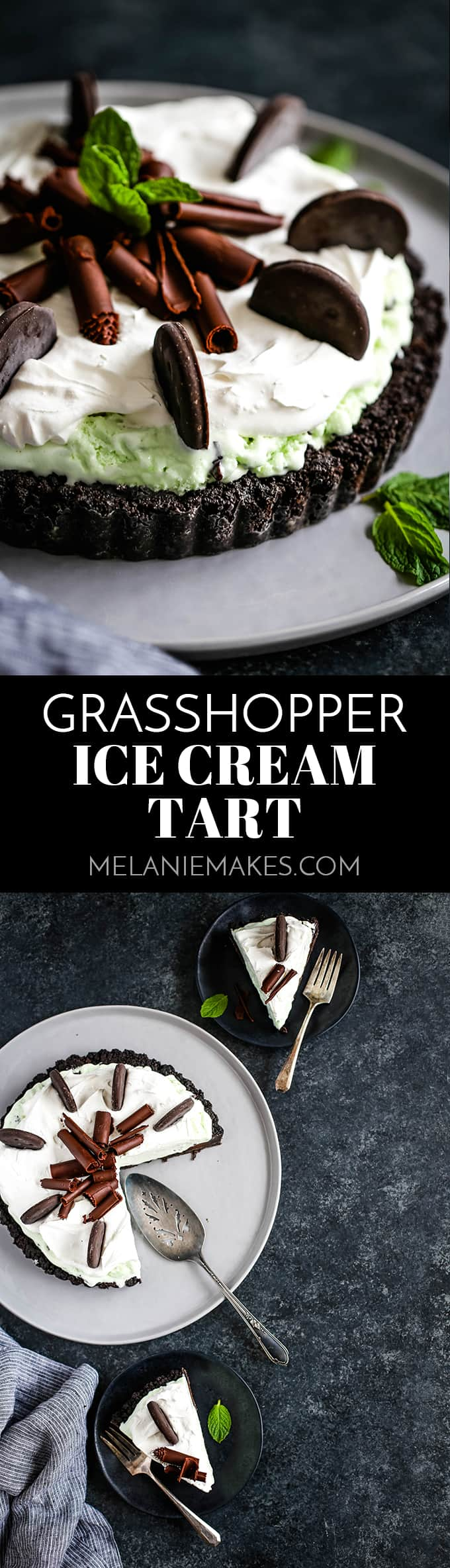 This no bake Grasshopper Ice Cream Tart couldn't be easier! Decadent chocolate and cooling mint are a knockout flavor duo in this Oreo crusted treat. #chocolate #mint #icecream #nobake #oreo #easyrecipe