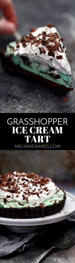 This no bake Grasshopper Ice Cream Tart couldn't be easier or more delicious. A thick Oreo crust is topped with chocolate ganache, mint chocolate chip ice cream and whipped topping before being garnished with dark chocolate curls. So many favorites in every single bite!