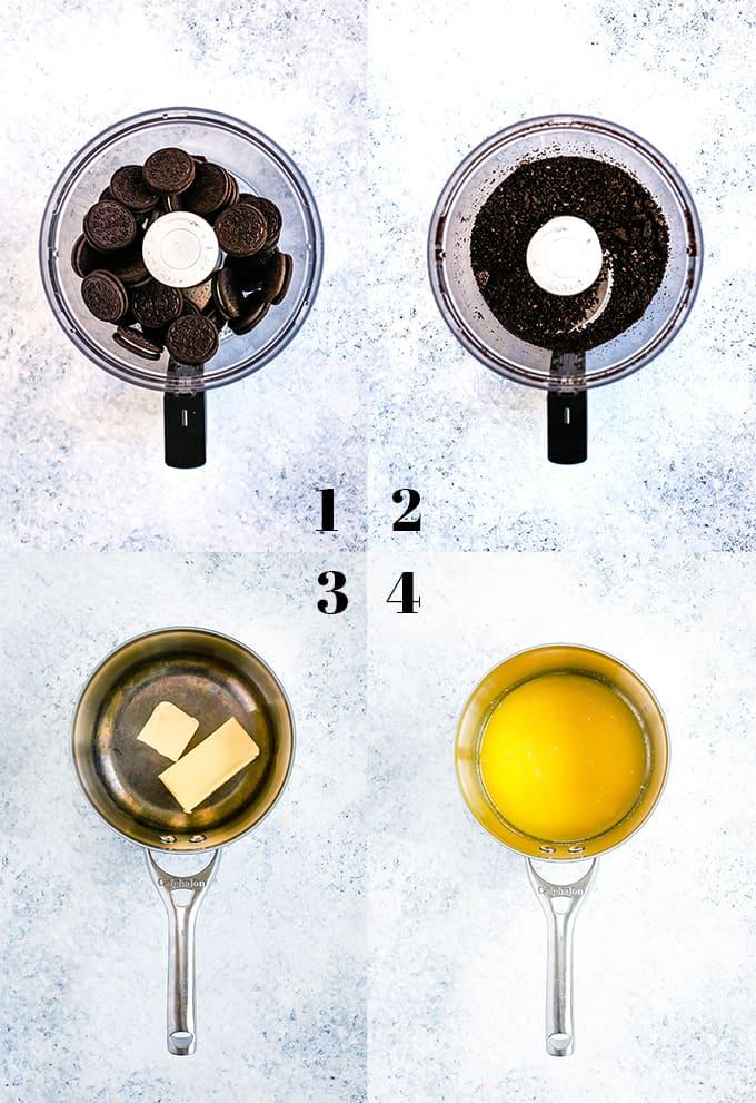 How to prepare Grasshopper Ice Cream Tart, steps 1-4.