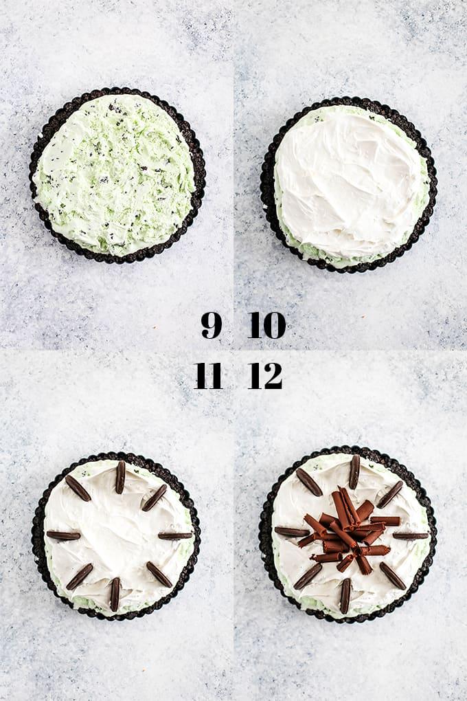 How to prepare Grasshopper Ice Cream Tart, steps 9-12.