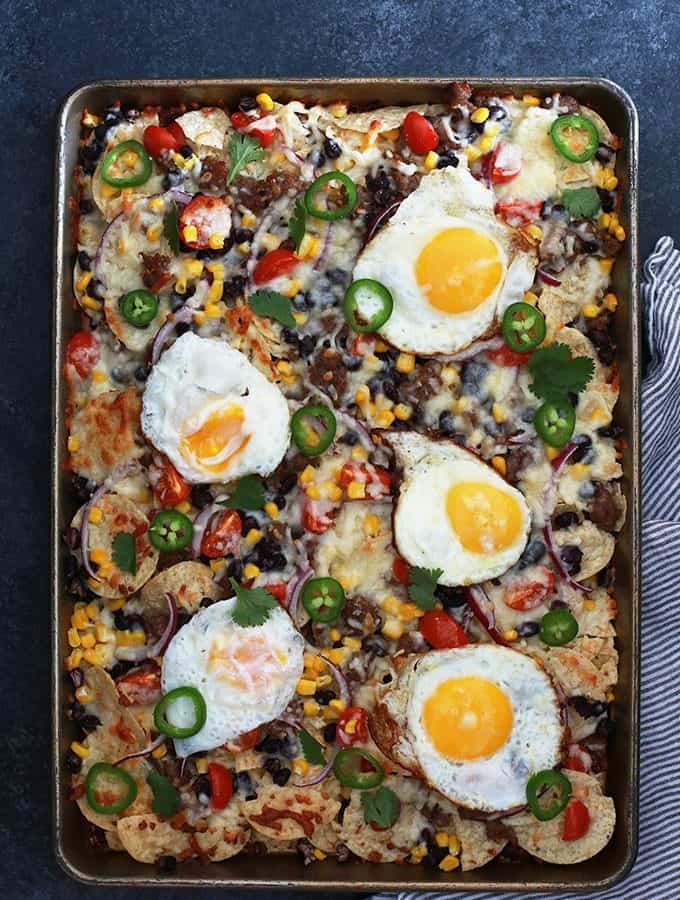 Huevos Rancheros Sheet Pan Nachos | Melanie Makes