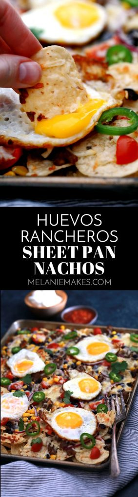 Huevos Rancheros Sheet Pan Nachos are a quick and delicious recipe perfect for feeding an entire family easily. Layers of chips, black beans, cherry tomatoes, corn and melty Monterey Jack cheese are topped with sunny side up eggs. Great for breakfast but also for an appetizer or brinner, too!