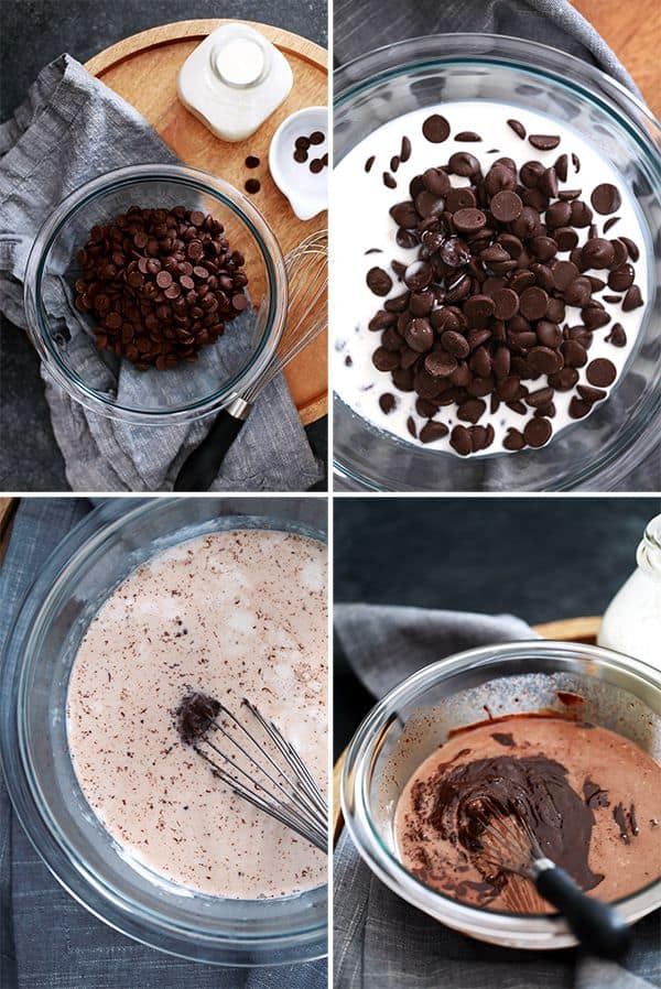 This two ingredient Microwave Chocolate Ganache comes together in less than five minutes and is amazing on it's own or as a glaze, sauce or filling for your favorite dessert.