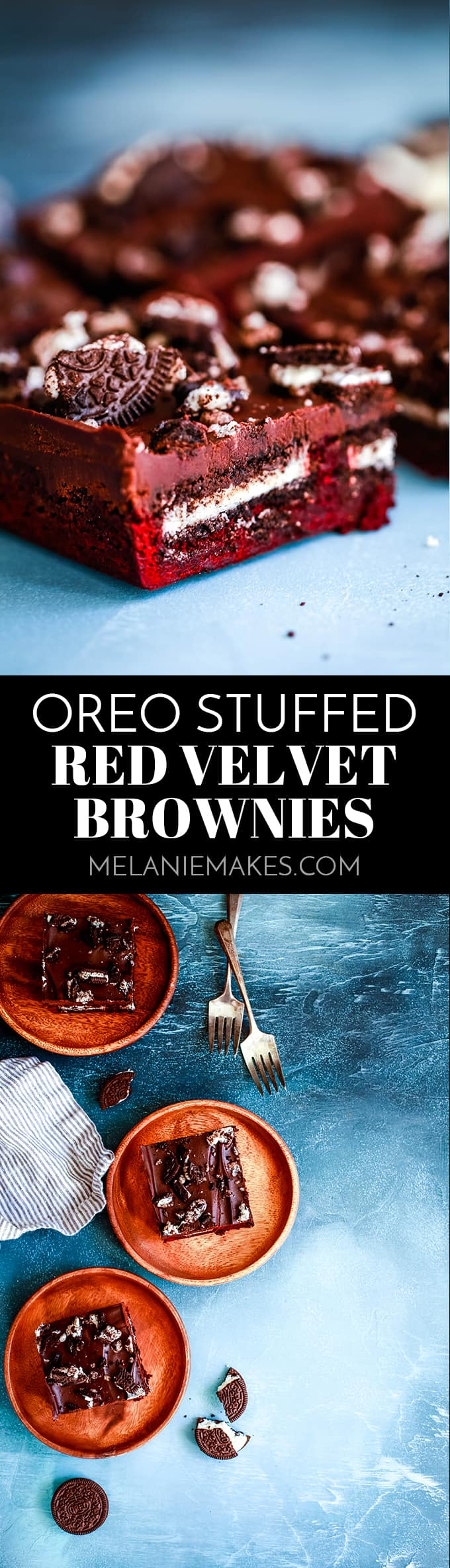 These Oreo Stuffed Red Velvet Brownies are deliciously decadent! A fudgy red velvet brownie base is stuffed with Oreos and then covered with a layer of chocolate ganache and more crumbled cookies. #redvelvet #brownies #chocolate #oreo #cookies #ganache #valentines #christmas