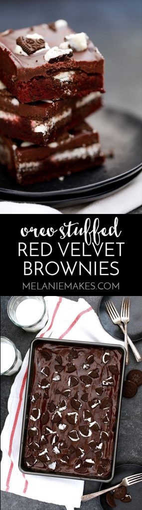 These Oreo Stuffed Red Velvet Brownies are deliciously decadent! A thick, fudgy red velvet brownie base is stuffed with Oreos and then covered with a layer of chocolate ganache and even more crumbled sandwich cookies.