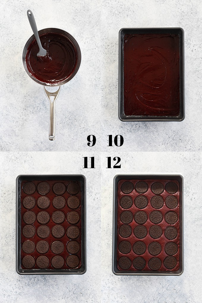Step by step photos of how to create Oreo Stuffed Red Velvet Brownies, steps 9-12.