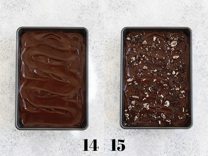 Step by step photos of how to create Oreo Stuffed Red Velvet Brownies, steps 14-15.