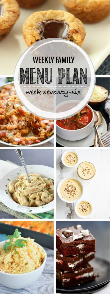 A visual weekly family menu plan including six meals, a breakfast, side dish and two dessert ideas. Each featured recipe includes multiple photos for each dish.
