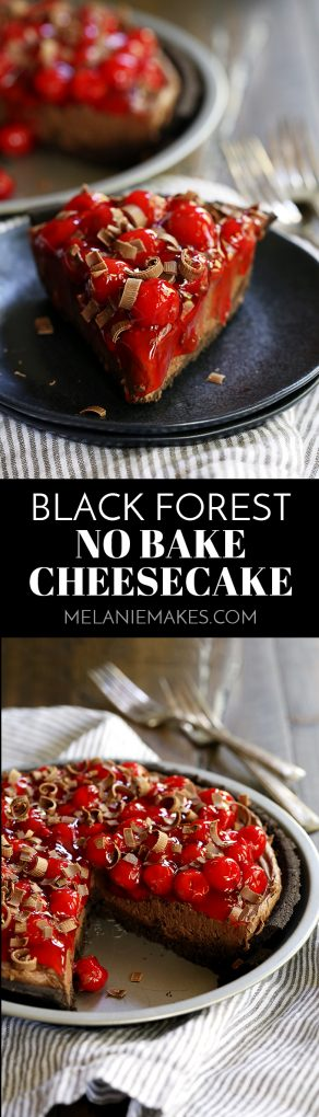 My Black Forest No Bake Cheesecake takes just 10 minutes to prepare and is a must for chocolate lovers! An Oreo crust holds a pool of decadent chocolate ganache before being filled with a chocolate cheesecake filling, topped with cherry pie filling and showered with dark chocolate curls.