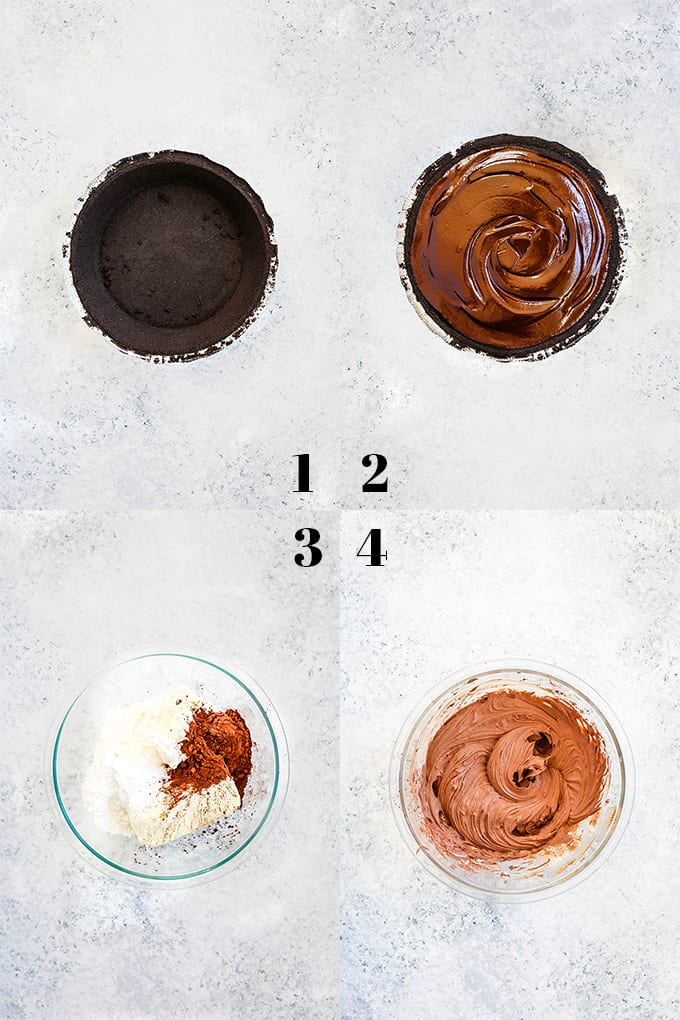 How to create a Black Forest No Bake Cheesecake, steps 1-4.