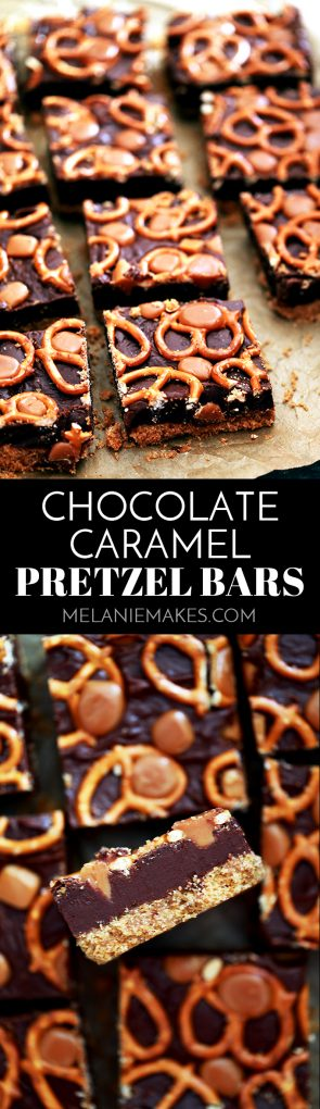 With just six ingredients, these Chocolate Caramel Pretzel Bars couldn't be easier, yet the three distinct layers are sure to please a crowd! #chocolate #caramel #pretzel #bars #dessertfoodrecipes #easyrecipe