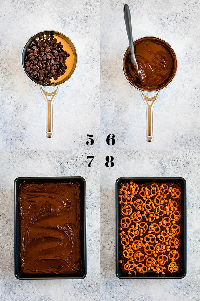 Step by step photos of how to create Chocolate Caramel Pretzel Bars on a white speckled surface.