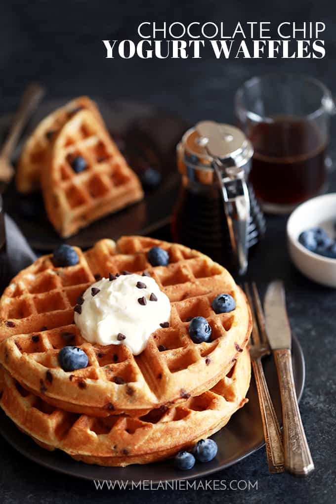 Chocolate Chip Yogurt Waffles | Melanie Makes
