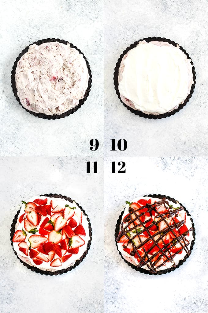 How to prepare a Chocolate Covered Strawberry Ice Cream Tart, steps 9-12.
