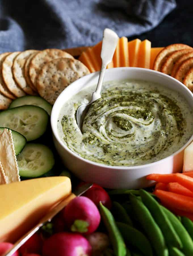 Pesto Yogurt Dip | Melanie Makes