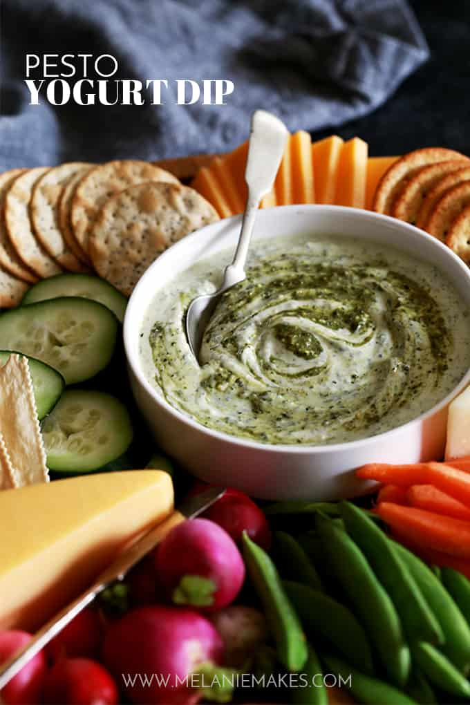 This two ingredient Pesto Yogurt Dip takes just five minutes to prepare and is perfect alongside your favorite fresh vegetables.