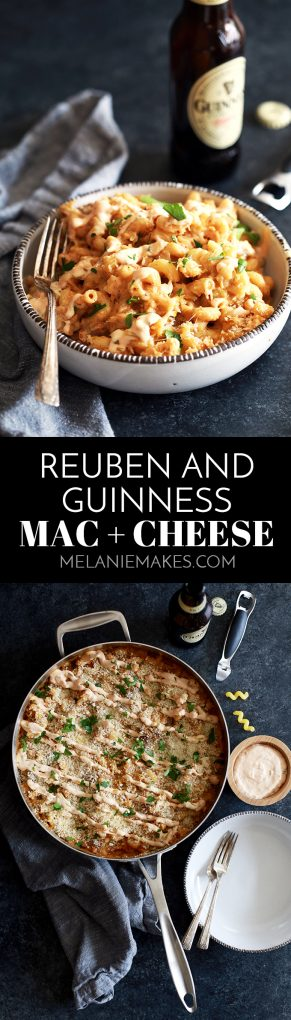 Modern Irish comfort food. That's what I'm calling this Reuben and Guinness Mac and Cheese. Pieces of thick cut corned beef and sauerkraut are stirred into a rich and gooey macaroni and cheese made with both cheddar and Swiss cheese and spiked with Guinness Beer before being drizzled with homemade thousand island dressing.