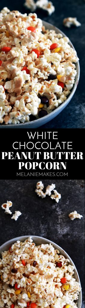 This four ingredient White Chocolate Peanut Butter Popcorn is a perfect snack choice, no matter the occasion. Salty popcorn is drizzled with a peanut butter white chocolate and studded with Reese's Pieces candy. The perfect sweet and salty combination!