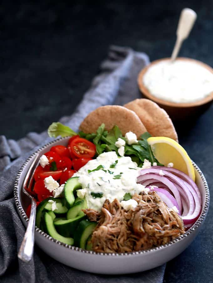 Slow Cooker Pulled Pork Gyro Bowls