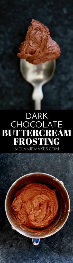 This decadent, five ingredient Dark Chocolate Buttercream Frosting takes just five minutes to prepare. You'll never stray towards the aisles of canned frosting again with this recipe in your back pocket. #darkchocolate #chocolate #buttercream #frosting